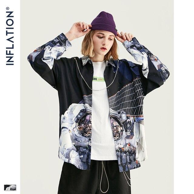 التضخم الرجال الخريف قميص الطباعة الرقمية الرجال Harajuku قميص طويل الأكمام قميص الشارع ارتداء المتضخم الرجال قميص 92147 واط