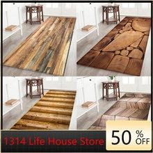 Геометрический деревянный коврик для кухни напольный дверной
