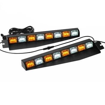 48W Amber/White LED Visor Light Hazard Emergency Windshield Strobe Light Bar