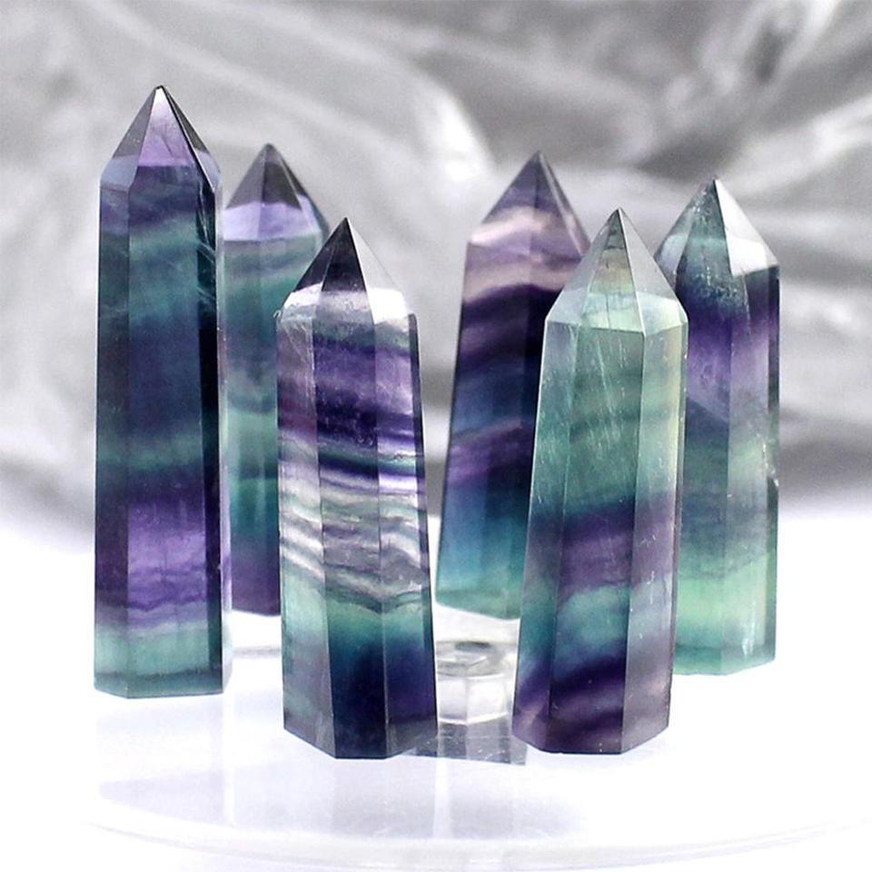 Natural Colorful Fluorite Quartz Crystal Stone Point Healing Hexagonal Rock Wand