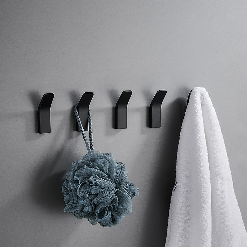 3-20 pcs Bath Bathroom Robe Coat Clothes Towel Hook Wall Self Adhesive Sticky Home Kitchen Storage Gadgets Hanging Rack Black