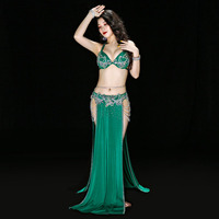 New Luxury Women Belly Dance Performance Sexy Bra+Skirt+Belt+Underpants Dance Competition Suit Two Sides Slit Skirt