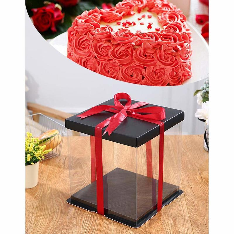 20CM/25CM/35CM Transparent Gift Box Plastic Organizer With Black Lid And Base For Rose Bear Flower Birthday Cake Wedding Gifts