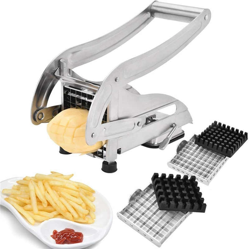 Stainless Steel French Fry Cutter,Vegetable and Potato Slicer,with 2 Blade Size Cutter Option,Safe Slice Meal Prep Easy Install