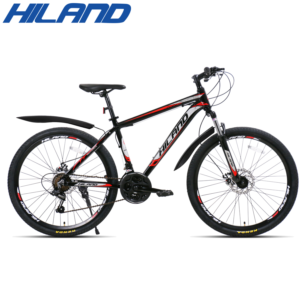 HILAND 26 inch 21 Speed Aluminum Alloy Suspension Bike Double Disc Brake Mountain Bike Bicycle with Service and Free Gifts 6
