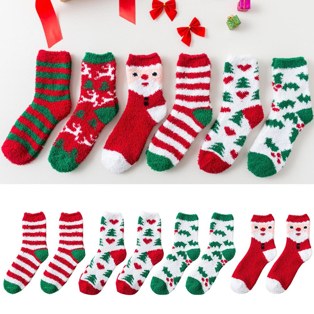 New Cute Socks Xmas Elk Santa Claus Striped Coral Thick Fleece Warm Fluffy Winter Soft Floor Socks Best Children Chirstmas Gift