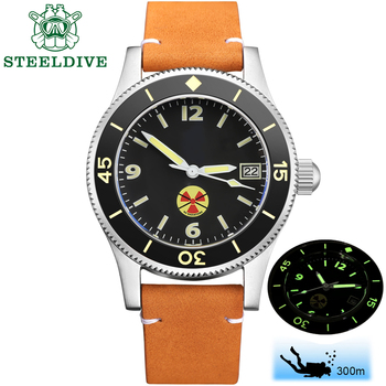 STEELDIVE 1952 China Red NH35 Automatic 300m Diver Watch Mechanical 316L Steel Automatic Watches Men Self Wind 41mm Dive Watch 2017 forsining china brand men watches dress automatic self wind watch black tourbillion dial imported 316l stainless steel band