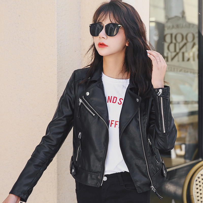 Classic   Leather   Jacket Women New Pu Faux   Leather   Biker Jacket Fashion Wild Candy Color Motorcycle Coat Short Black Outerwear