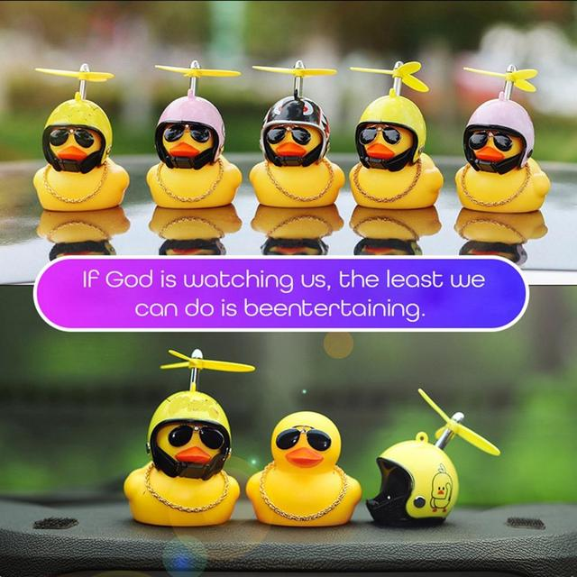 Car Duck with Helmet Broken Wind Small Yellow Duck Road Bike Motor Helmet Riding Cycling Car Accessories Decor Without Lights 2