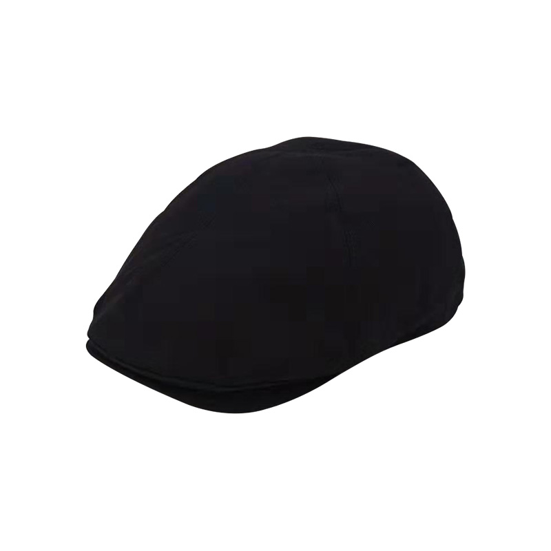 Black Solid Cotton Men Beret Cap Adjustable Hats Men Cowboy Hat Golf Driving Summer Flat Cabbie Newsboy Caps