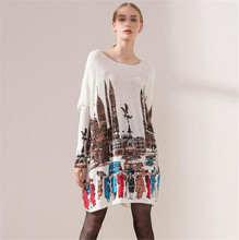 Fashion Oversize Casual Long Women Sweater Batwing Sleeve Cartoon City Print loose Womens Sweaters Pullovers dropshipping