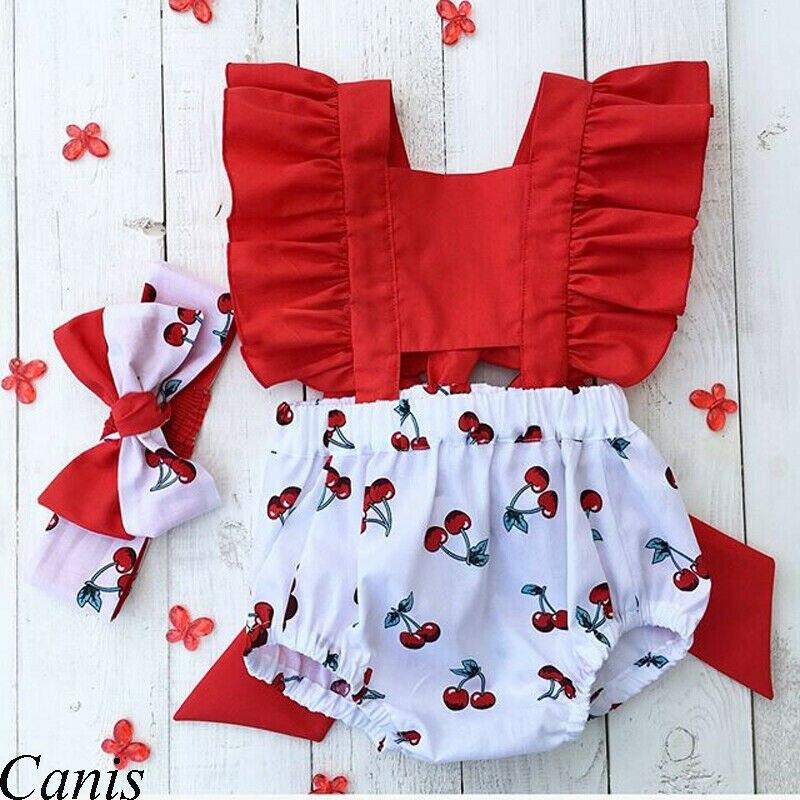 2Pcs יילוד תינוקת בגדים לפרוע ללא משענת דובדבן Romper + סרט תלבושת תינוקת קיץ בגדים