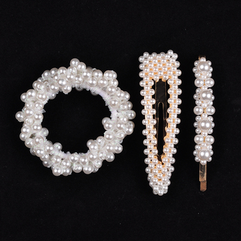 14 Colors Woman Elegant Pearl Hair Ties Beads Girls Scrunchies Rubber Bands Ponytail Holders Hair Accessories Elastic Hair Band 27