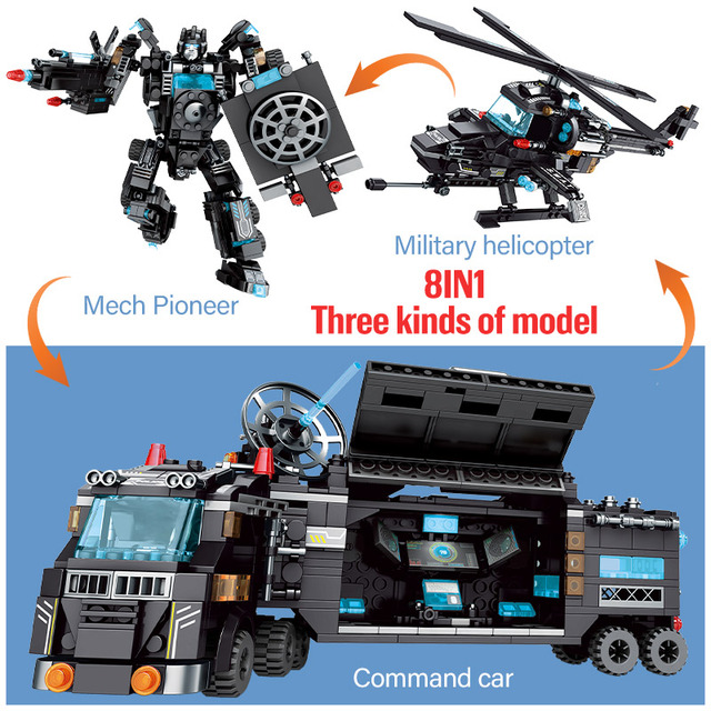 820PCS City Police Station Truck Deformation Robot SWAT Helicopter WW2 Car Building Blocks Technic Weapons Bricks Toys For Boys