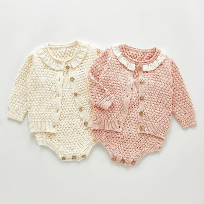 Autumn Baby Girls Clothes Baby Knit Bodysuit Set Newborn Baby Girl Knitted Cardigan Infant Sweater Cotton Coat Baby Jumpsuit