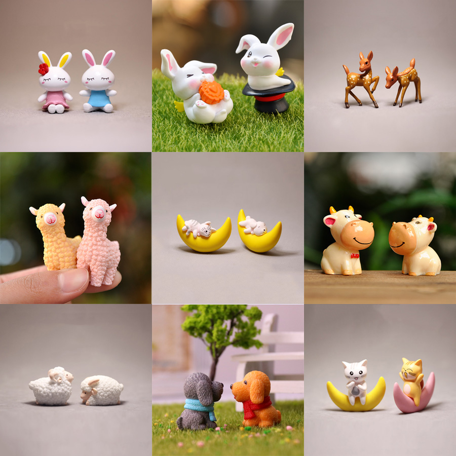 BAIUFOR мультфильм животных пара [1] миниатюры Овцы Кролик лебедь