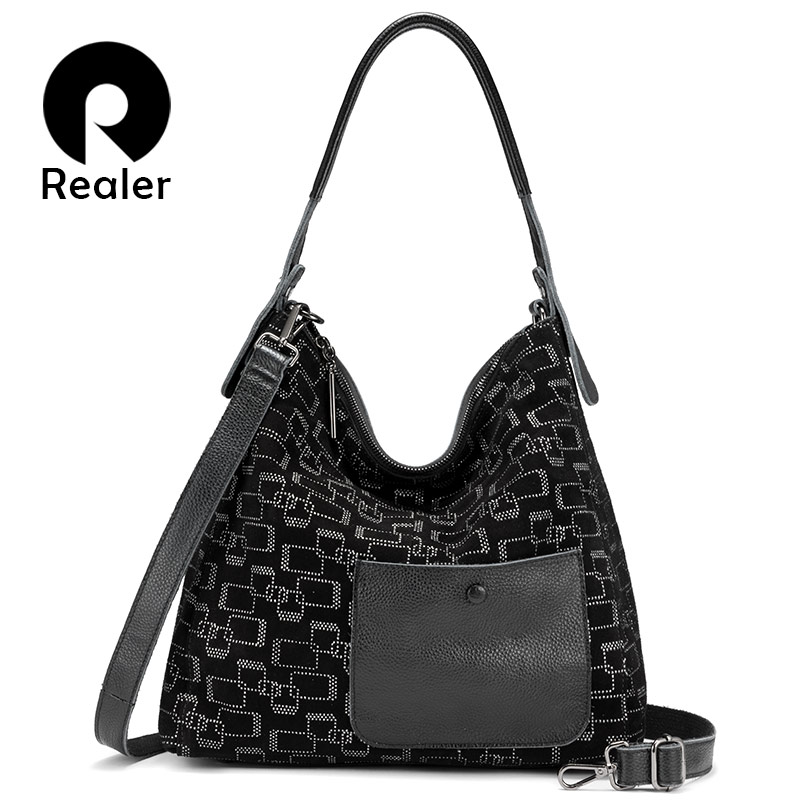 REALER Female Shoulder Bag Genuine Leather Large Tote Bags For Women 2019 Hobos Patchwork Luxury Handbags Women Bags Designer