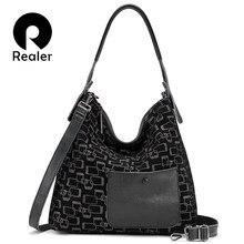 REALER female shoulder bag genuine leather large tote bags f