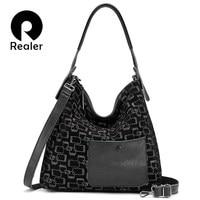 REALER female shoulder bag genuine leather large tote bags for women 2019 hobos patchwork luxury handbags women bags designer