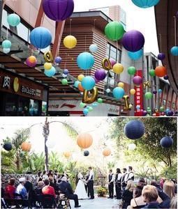 Image 3 - 2pcs 4/6/8/10/12/14/16 Inch Round Wedding Birthday Party Paper Lanterns Decor Gift Craft DIY Lampion Hanging Ball