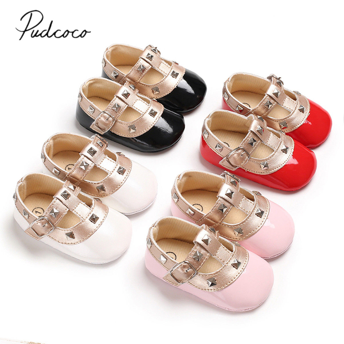 New Newborn Baby Girl Bow Princess Shoes Soft Sole Crib Leather Solid Buckle Strap Flat With Heel Baby Shoes 4 Colors