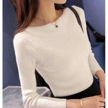 2020 женский свитер с круглым вырезом тонкий пуловер длинными