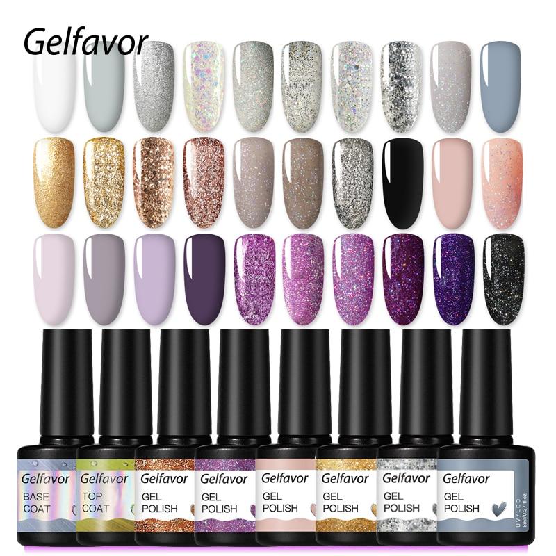 Gelfavor Gel Varnish Hybrid Nail Gel Polish Manicure Set For Nail Art Semi Platinum UV LED Lamp One Step Nails Gel Polish Primer