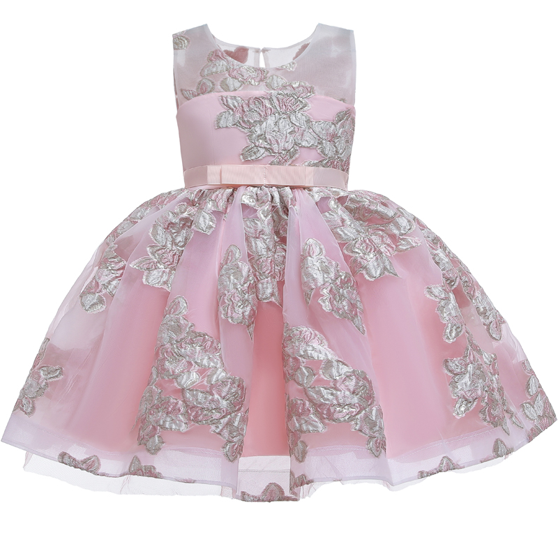 New Elegant Princess Birthday Wedding Party Embroidered Dress Girl Christmas Party Graduation Communion Formal First Party Dress