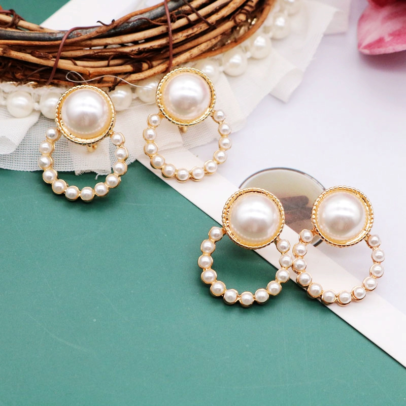 Free Shipping French New Designs Round Pearl Earrings Simple Trendy Creative Alloy Stud-Earring