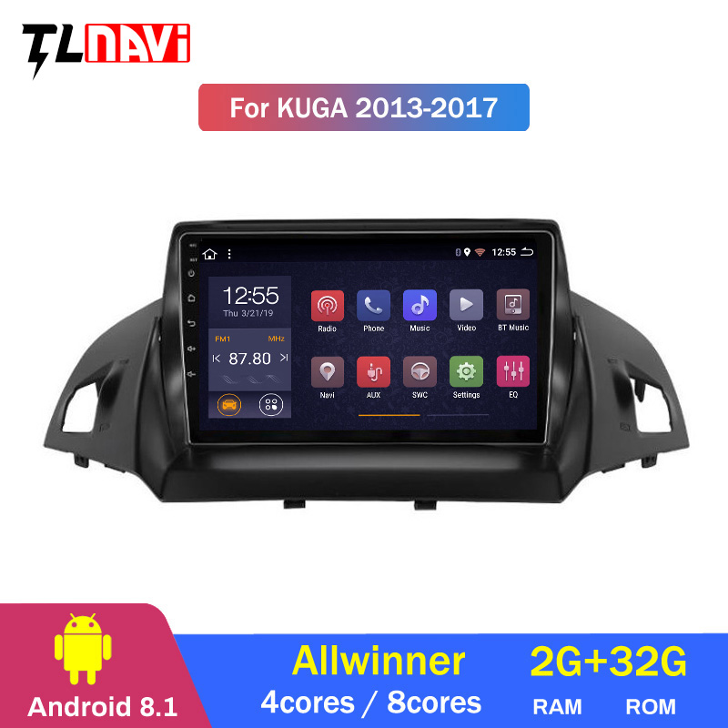 9'' IPS Car Multimedia Player <font><b>Android</b></font> <font><b>8.1</b></font> <font><b>Autoradio</b></font> For Ford Kuga escape 2013-2017 GPS Navigation Stereo RDS WIFI image