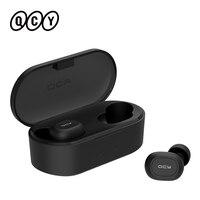 QCY T1C قوة TWS بلوتوث V5.0 الرياضة سماعات لاسلكية ثلاثية الأبعاد سماعة رأس ستيريو صغيرة في الأذن ميكروفون مزدوج مع صندوق شحن