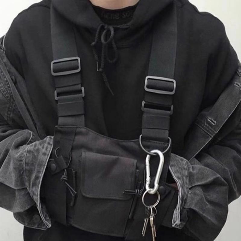 Men Tactical Shoulder Bags Chest Rig Bag Hip Hop Streetwear Men Functional Waist Packs Adjustable Pockets