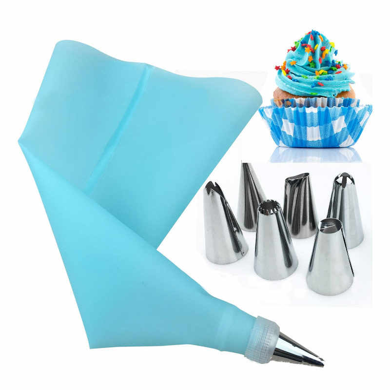 8 Stks/set Siliconen Spuitzak Tips Keuken Diy Icing Piping Cream Herbruikbare Pastry Tassen + 6 Nozzle Set Cake Decorating gereedschap