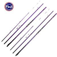 4.25m 2pcs purple Full Fuji Components 100 250g 3sections Superhard high carbon surf rod casting beach far shot fishing rod