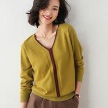Женский кашемировый свитер с v образным вырезом модный вязаный