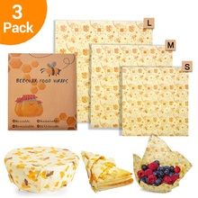 3Pcs/set Zero Waste Bee Wrap BPA Free Beeswax Food Fresh Keeping Reusable Sandwich Bag Wax Paper Seal Storage Cover