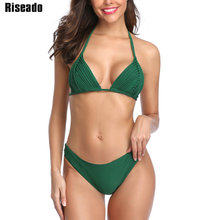 Riseado New 2020 Sexy Mirco Bikinis Women Swimwear Swimsuit Solid Halter Summer Beach Wear biquini Brazilian
