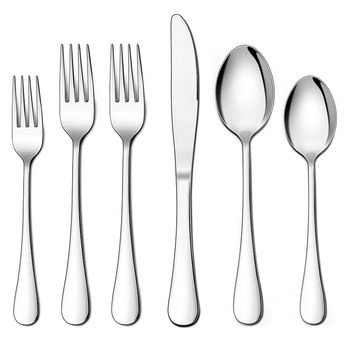 48-Piece Silverware Set with Extra Forks, Stainless Steel Flatware Cutlery Set for 8, Eating Utensils Tableware, Dishwasher Safe
