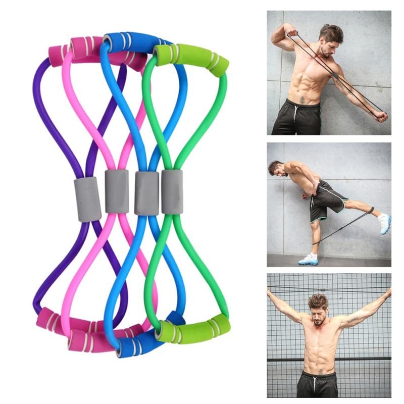 Yoga Palestra Forza Elastici A Resistenza Muscolare Body Building Fasce di Resistenza 8 parola Busto Expander Tubo di Gomma di Pull Rope Workout