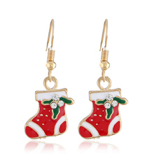 Hot Creative Christmas Ornaments Dangle Earrings For Women Stylish Christmas sock Drop Earrings jewelry for gift pair of stylish faux turquoise crescent shape drop earrings for women