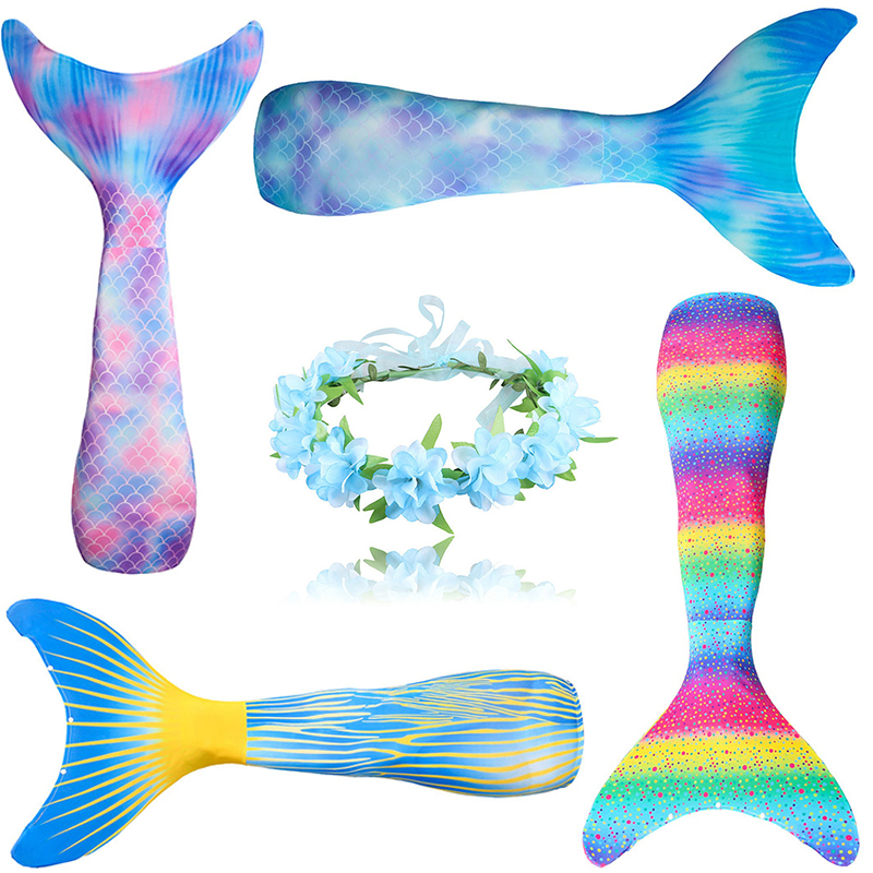 Girls Cosplay Mermaid Tails Children Swimming Costume Kid Swimmable Bikini Bathing Swimsuit Mermaid Can Add Monofin C25707CH