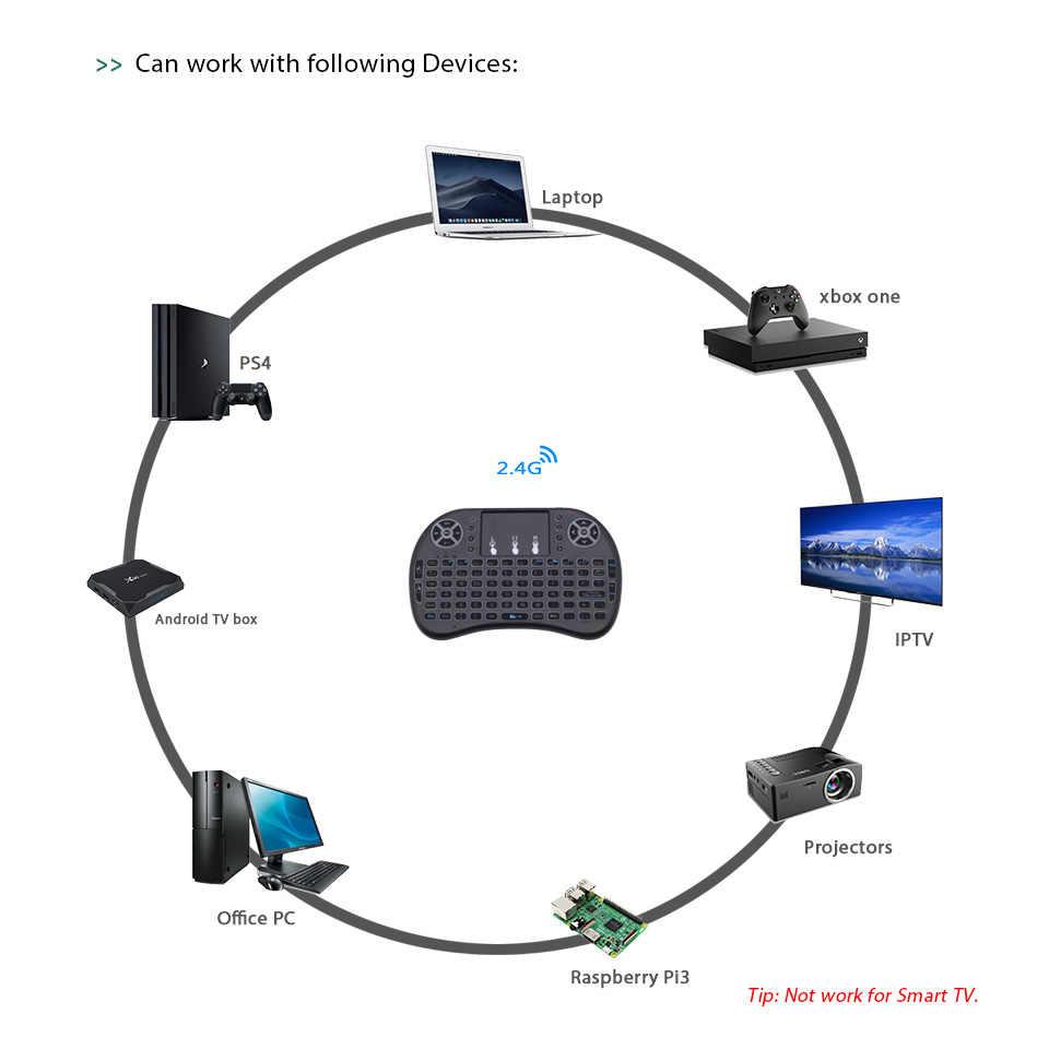الروسية الفرنسية الإسبانية العربية 7 اللون الخلفية i8 لوحة مفاتيح لاسلكية صغيرة ماوس هوائي مع لوحة اللمس ل تي في بوكس أندرويد كمبيوتر صغير IPTV
