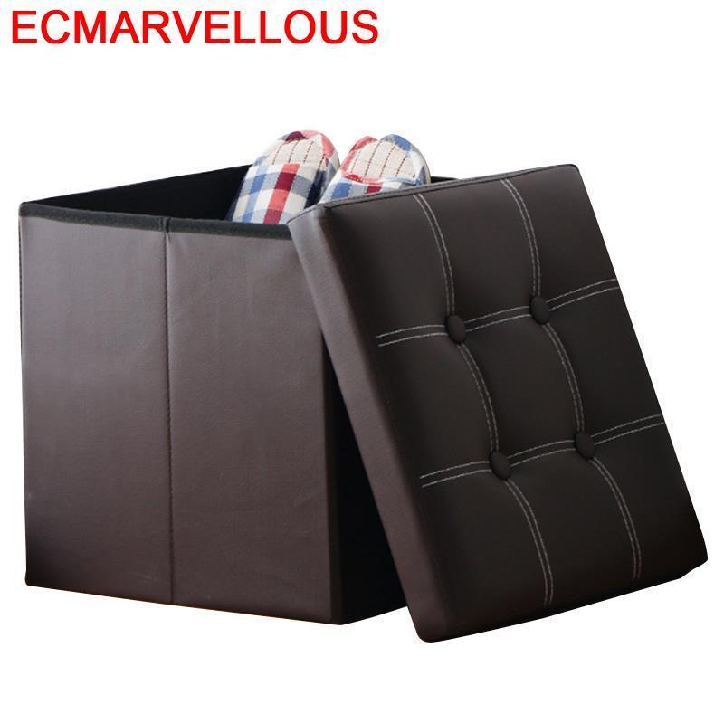 Aluminio Escalera Plegable Ottoman Krukje Mueble Vintage Chair Taburet Moderno Pu Leather Kids Furniture Pouf Poef Storage Stool