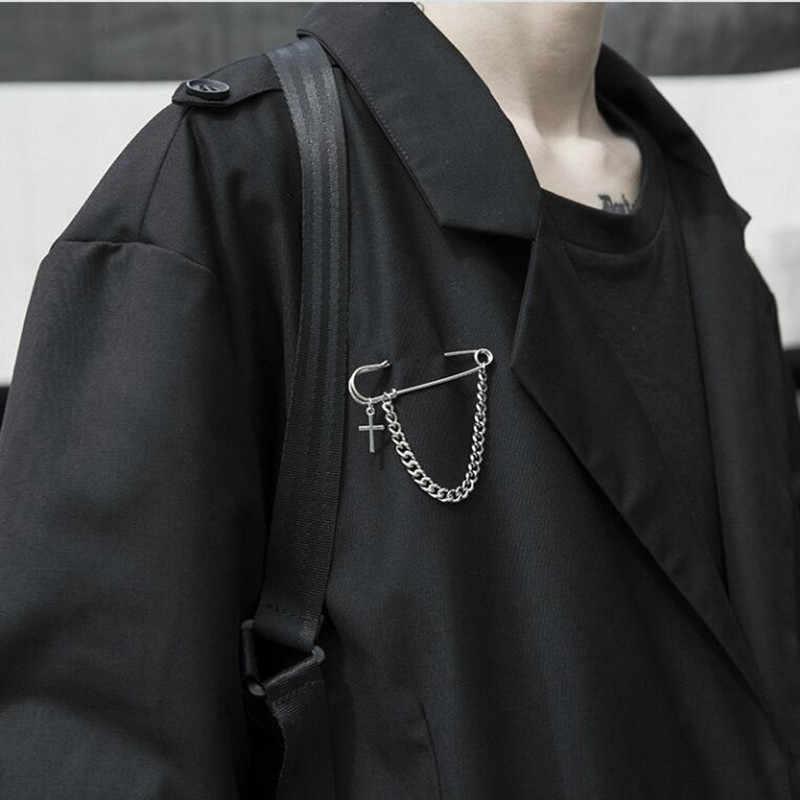 Hot Giappone Corea Del Sud Retro Punk Grande Spilli Croce Personalizzato Spille Unisex Paio di Disegno Della Catena Accessorio del Vestito