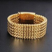 ZPAMS Stainless Steel Mens Bangle Gold Color Weaving Trendy Bangles Bracelets for Men Punk Hyperbole Charm Bangles Braecelets