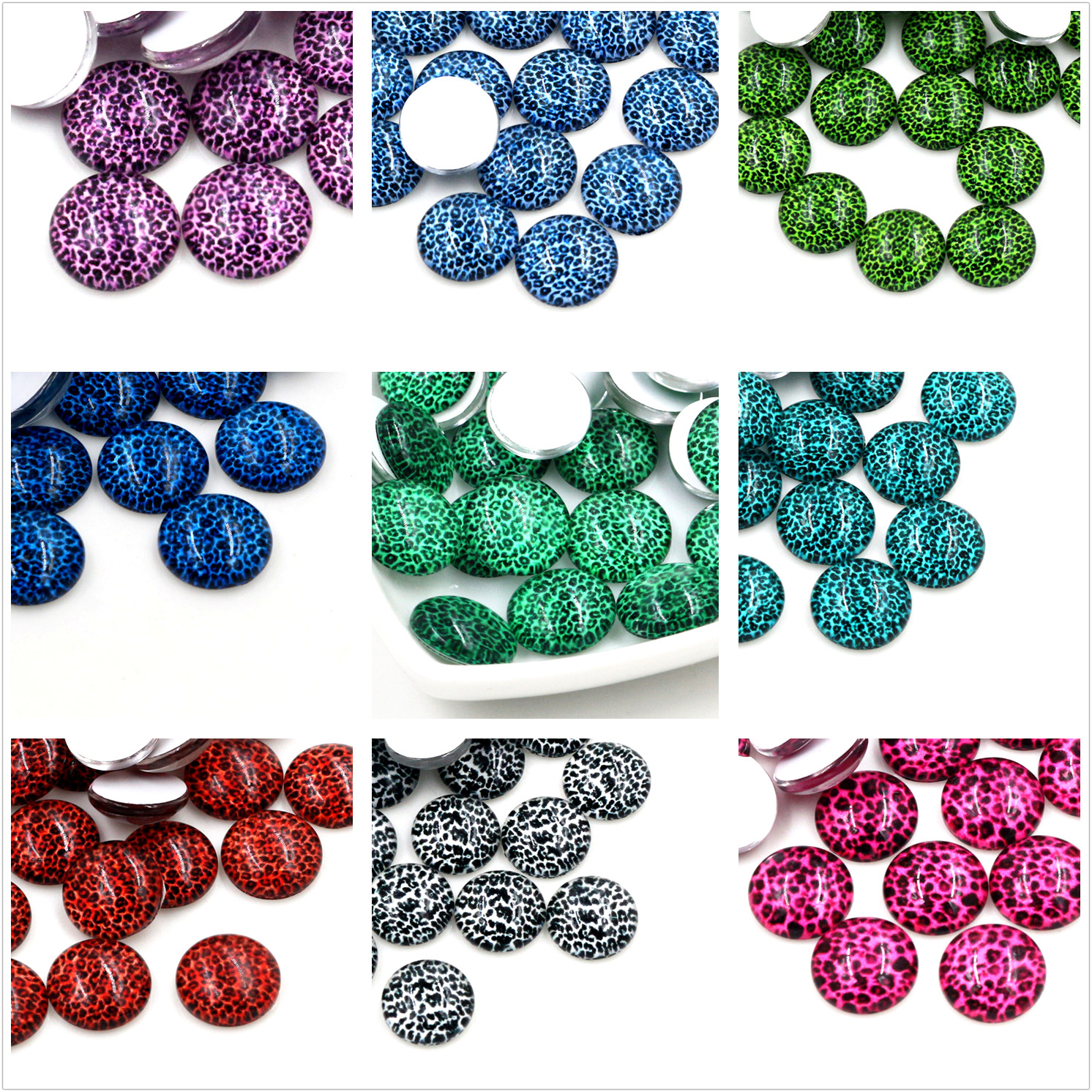New Fashion  20pcs 12mm New Colors Leopard Handmade Photo Glass Cabochons Pattern Domed Jewelry Accessories Supplies