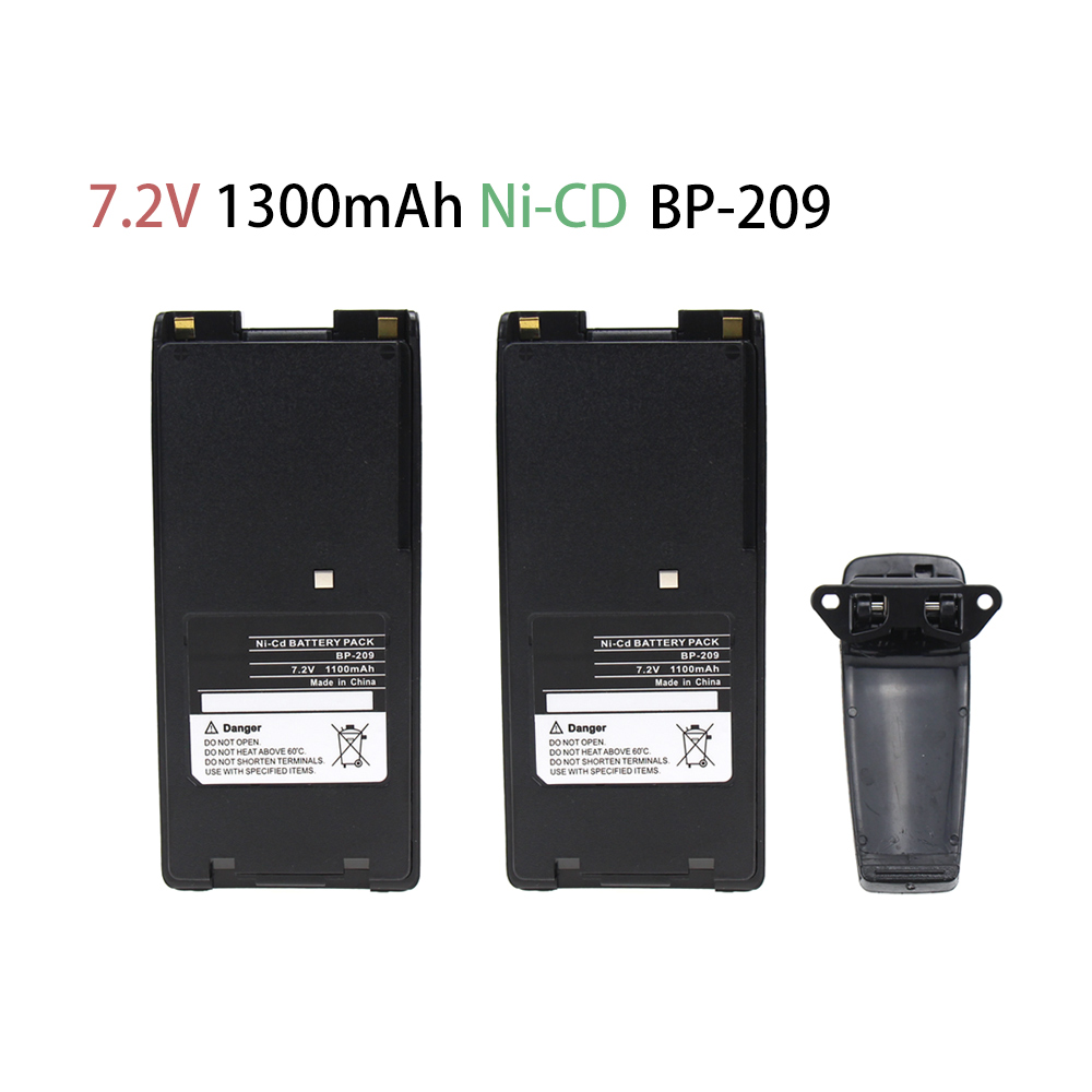 2x Pack For Icom BP-210 Two-Way Radio Battery With Clip (1300mAh 7.2V NI-CD) - For IC-A24 IC-V8 IC-V82  IC-A6 IC-F21 IC-F21