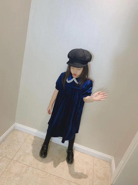 Mädchen kleid spitze kragen samt design kurzarm mode baby party kleid