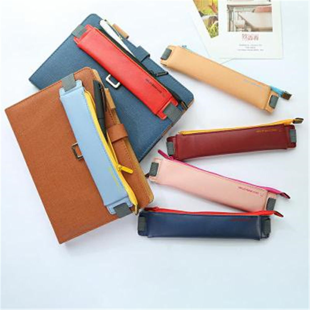1PC PU Leather Mini Pen Bag Eco-friendly Elastic Buckle Book Pencil Case Portable Notebook Journal Pen Holder Office Stationery