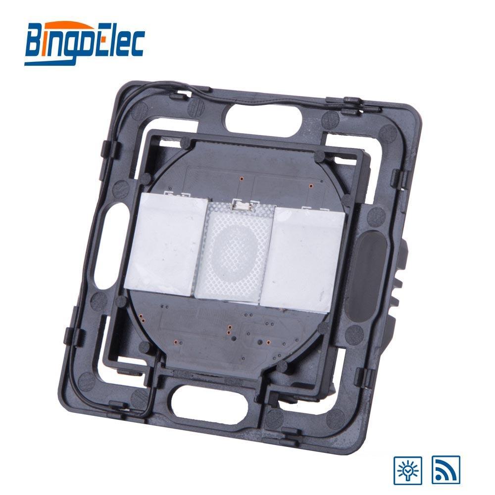 Bingoelec 2 Gang 1 Way 700W Touch Dimmer Remote Light Switch Function Part, No Glass Panel ,EU/UK Standard ,Hot Sale